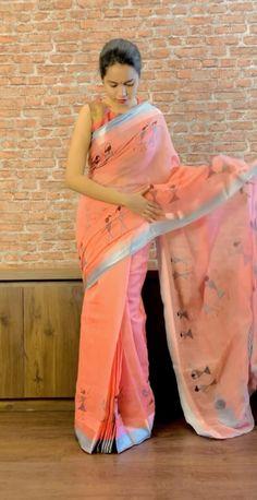 Orange Saree, Orange Blouse, Maharashtrian Saree, Drape Sarees, Fashion Illustration Dresses, Sari, Saree Look, Saree Styles, Printed Sarees