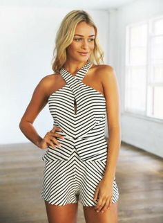 Black and White Striped Peplum Romper,  Other, black and white striped  romper  peplum, Chic #black #white #peplum #romper #cute #striped #trendy #obsessed  www.UsTrendy.com