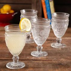 Yes please!!! The Pioneer Woman Adeline Embossed 12-Ounce Footed Glass Goblets, Set of 4 - Walmart.com