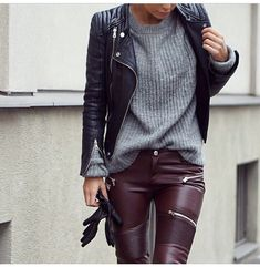 Black leather jacket | burgandy leather plants