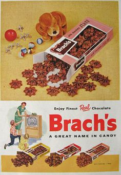 1955 Brachs Candy Ad - I loved chocolate stars when I was a kid, and my Grandma would buy them for me all the time. I bought some as an adult and couldn't eat them! Retro Candy, Vintage Candy, Vintage Toys, My Childhood Memories, Great Memories, Childhood Toys, Family Memories, Chocolate Stars, Chocolate Covered