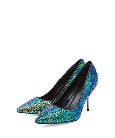 Blue Sequin Pointed Heels  | New Look