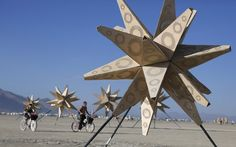 An art installation is pictured…  burning man 2012