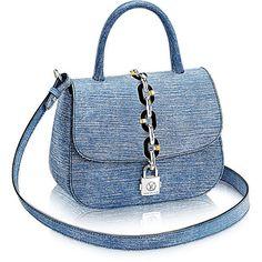 Chain It Bag PM ($2,880) ❤ liked on Polyvore featuring bags, handbags, chain handbags, circle bag, nautical purse, nautical bag and blue purse