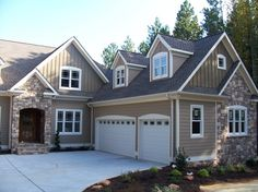 Exterior, Awesome Exterior House Paint Color Ideas With Rustic Brown Exposed Stone Wall Mixed Gray Wooden Panel Wall And White Garage Door Design Ideas: Inspiring Exterior House Paint Color Ideas For Your Lovely Home