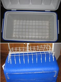 I bought some freezer baskets at a garage sale to use in my upright freezer. I had a couple left over and thought of a great idea for them. I cut the corners off and then I folded the ends up and I use them in my coolers for camping.