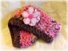 Pink Flower Crochet Ear Warmer