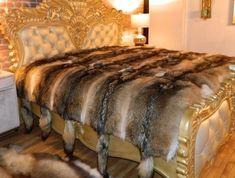 ROYAL GENUINE COYOTE FUR BLANKET THROW ALL SIZES KING BED #FurrierMade