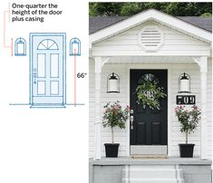 Rules of thumb for double exterior door sconce lighting: Door-framing lights, placed 6 to 12 inches from the door casing, are a natural choice for symmetrical entries. A to LED bulb (labeled to equivalent) per fixture is usually enough. Front Door Lighting, Entry Lighting, Exterior Lighting, Sconce Lighting, Outdoor Lighting, Lighting Ideas, Landscape Lighting, Lighting Design, Feng Shui