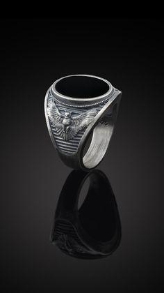 Silver Owl Ring, Silver Mens Onyx Ring, Oxidized Signet Rings, Owl Signet Ring, Sterling Silver Oxidized Mens Jewelry, Man Onyx Owl Gift Ring.  #owlring #onyxrings #mensrings Earring Trends, Jewelry Trends, Owl Ring, Bff Necklaces, Black Onyx Ring, Silver Rings Handmade, Animal Jewelry, Signet Ring, Silver Man
