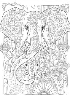 Elephant coloring page Printable Adult Coloring Pages, Cute Coloring Pages, Disney Coloring Pages, Animal Coloring Pages, Coloring Pages To Print, Coloring Books, Elephant Coloring Page, Elephant Colour, Mandala Coloring