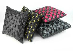 'Tube Cushions', created by Barley Massey by weaving old bicycle inner tubes together which she collects from East London's bike repair shops. 45cm x 45cm. £45. Available at  www.fabrications1.co.uk