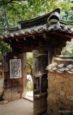 'Korean gate' by leigh miller Korean Traditional, Traditional House, Japon Illustration, Korean Art, Japanese Architecture, Garden Gates, South Korea, Garden Design, Beautiful Places