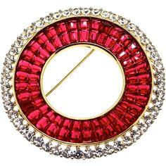 Vintage Philippe TRIFARI Deco Style INVISIBLE SET Ruby Rhinestone Circle Brooch Pin DESCRIPTION: Hard to Find...Designed by Alfred Philippe, Ruby