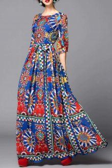 Colorful Geometric Print Maxi Dress
