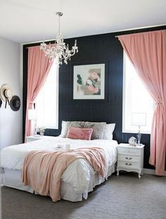 A cozy and glamorous white, black and blush pink bedroom. A cozy and glamorous white, black and blush pink bedroom. Blush Pink Bedroom, Pink Bedroom Design, Glam Bedroom, Master Bedroom Design, Cozy Bedroom, Home Decor Bedroom, Modern Bedroom, Bedroom Black, Bedroom Small
