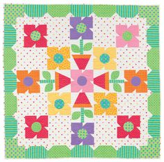 Happy flower quilt by Barbara Jones, posted at Henry Glass Fabrics blog