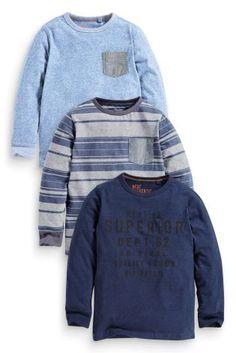Купить Три футболки в синих тонах с длинным рукавом и надписью (3-16 лет) Купить онлайн прямо сейчас на Next: Украина