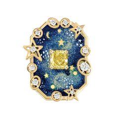 CHANEL, Biennale des antiquaires 2014, collection Café Society - bague Vendôme Comète, or jaune, émail grand feu, diamant jaune taille coussin de 1,5 carat, diamants taille brillant