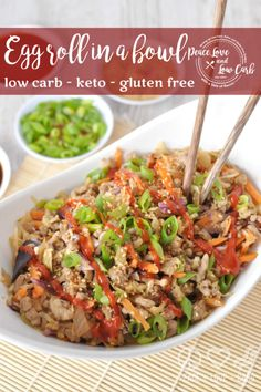 The ever so addicting Paleo Pork Egg Roll in a Bowl (Crack Slaw). Super easy to make, and oh so satisfying. My favorite low carb ground pork recipe. Whole 30 Recipes, Pork Recipes, Low Carb Recipes, Real Food Recipes, Diet Recipes, Cooking Recipes, Healthy Recipes, Recipes For Ground Pork, Healthy Meals