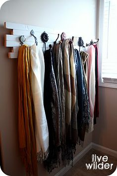 Scarf Rack - Love and NEED this! Love the mismatched hooks!