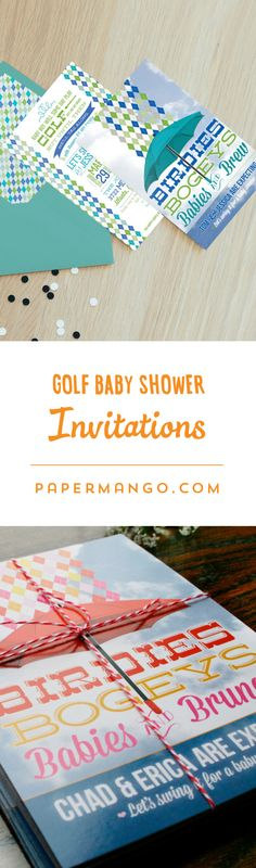 These preppy argyle baby shower invitations are the perfect way to invite family and friends for a fun golf get-together to celebrate the mama-to-be and her little putter. $1.49+ from Paper Mango #golf #baby #shower #invitations