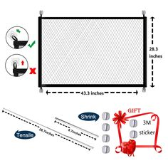 Magic Gate for Dogs Portable Folding Mesh Pet Gate Magic Gate Safety Gates Safety Fence Isolated Gauze Indoor and Outdoor Safe Guard Install Anywhere 43.3 inch x 28.3 inch -- (paid link) You can find out more details at the link of the image.
