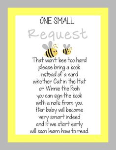 Baby Shower Book Instead Of Card Saying Awesome Instant Digital File Bumble Bee Baby Shower Invitation Baby Shower Fun, Girl Shower, Baby Shower Parties, Bee Baby Showers, Baby Shower Girl Games, Shower Party, Mommy To Bee, Bee Gender Reveal, Baby Shower Gender Reveal
