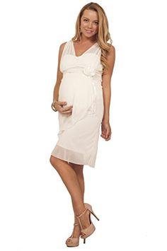 a92d98123a3 Maternity Formal Party Chiffon V Neck Sleeveless Knee Length Empire Waist  Dress at Amazon Women s Clothing store