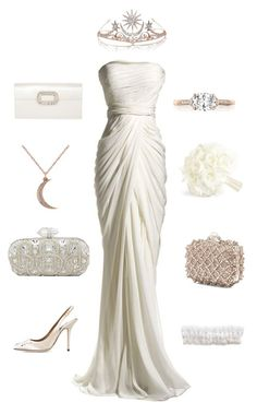 """""""Queen Serenity Inspired Wedding Look"""" by potterfluff7 ❤ liked on Polyvore featuring J. Mendel, Dolce&Gabbana, Tacori, Allurez, Jimmy Choo and Roger Vivier"""