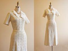 40s Crochet Dress - Vintage 1940s Gown - White Crochet Knit Dress L - Certain of Angels