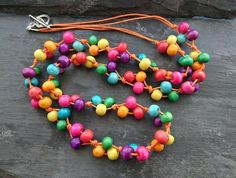 Rainbow wooden necklace with orange cotton cord Wooden Necklace, Beaded Necklace, Beaded Bracelets, Organza Gift Bags, Handmade Jewellery, Wooden Beads, Cord, Jewelry Making, Rainbow