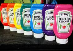 All natural paint for kids & stored in recycled ketchup bottles! Mix together the following ingredients:  1 CUP SALT, 1 CUP FLOUR, 1 C WATER, FOOD COLORING.
