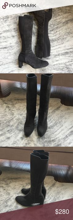 """Stuart Weitzman 50/50 mid heel suede gray boots Lightly worn. A stretch-fabric back gives the Stuart Weitzman 50/50 suede boot a custom and comfortable fit.  Kidskin suede Stuart Weitzman boot with stretchy back offers custom fit. 15 in shaft. Calf-contouring to-the-knee shaft. 2 1/2"""" covered block heel. Tonal top-stitching. Round toe. Rubber sole. Stuart Weitzman Shoes Heeled Boots"""