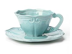 Vietri Incanto Aqua Baroque Tea Cup and Saucer