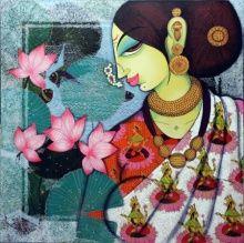 Lotus Painting, Figure Painting, Gond Painting, Durga Painting, Saree Painting, Woman Painting, Fabric Painting, Mother Painting, Indian Art Paintings