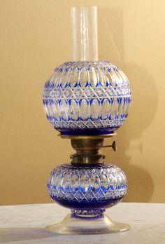 Lamp cut glass blue cobalt cut to clear iol lamp