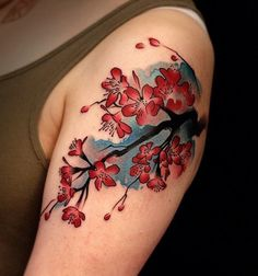Watercolor Inspired Cherry Blossom Tattoo.