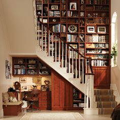 At home library and office nook, wow. I love using space under stairs for cool ideas.