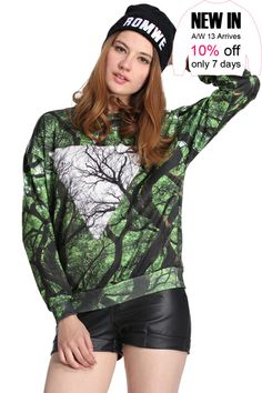ROMWE   ROMWE Double Season Forest Print Long-sleeved Sweatshirt, The Latest Street Fashion