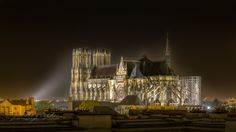 Reims by Night - Notre-Dame de Reims - Panorama Chosen views over this utmost masterpiece of XIIIth century gothic architecture. For more than a thousand years, here kings of France came to received their holy coronation. © www.vincentzenon.com