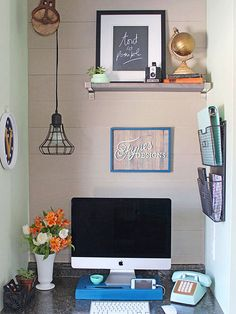When your home office is just a nook off the kitchen, the temptation might be to keep the decor as simple as possible. Blogger Virginia of Fynes Designs went the opposite direction, adding a textured plank wall and a unique hanging light fixture. The result is a tiny office with more character than most full-size rooms. Get more details at Fynes Designs./
