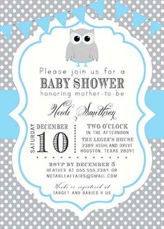 PRINTABLE Gray and Blue Polka Dot Owl Baby Boy by NotableAffairs, $15.00