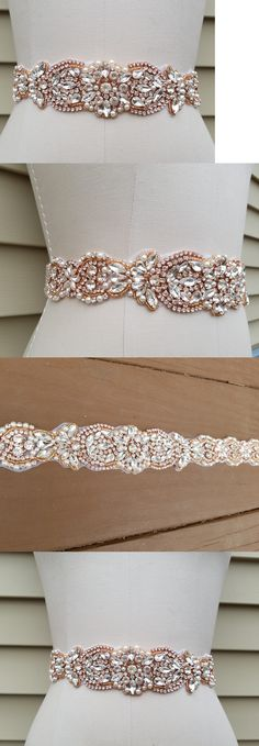 Other Bridal Accessories 106128: 27 Trim Wedding Dress Sash Belt - Rose Gold Crystal Pearl Bridal Sash Belt -> BUY IT NOW ONLY: $30.5 on eBay!