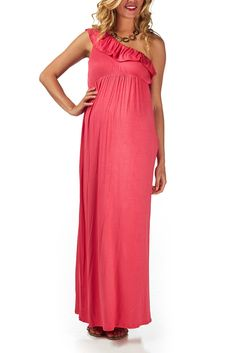 Love this Coral-Off-Shoulder-Maternity-Maxi-Dress!  Draws the eye toward the beautiful mom-to-be!  Wear with neutral wedge heels or gold gladiator sandals.  #maternity #pinkblush