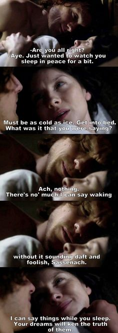 """""""Just wanted to watch you sleep in peace for a bit"""" -Jamie and Claire #Outlander"""