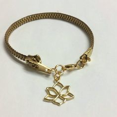 $20 Tan & Gold Zipper Bracelet with Lotus Charm by WillyInPhilly