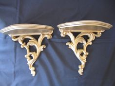 2 Vintage Hollywood Regency Gold Syroco Wall Shelf Ornate Deco Style Wall Sconce