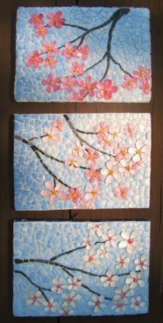 Apple Blossom Eggshell Mosaic - by Linda Biggers - Use food colouring or paint the eggshells and seal with PVC glue, which will go clear when dry.