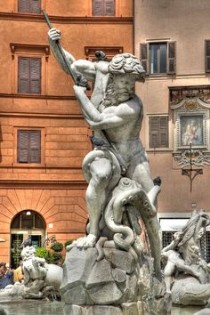 Fountain of Neptune ~ Piazza Navona, Rome, Italy. https://en.wikipedia.org/wiki/Fountain_of_Neptune,_Rome